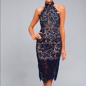 Lulus Devine Destiny Navy Blue Lace Midi Dress